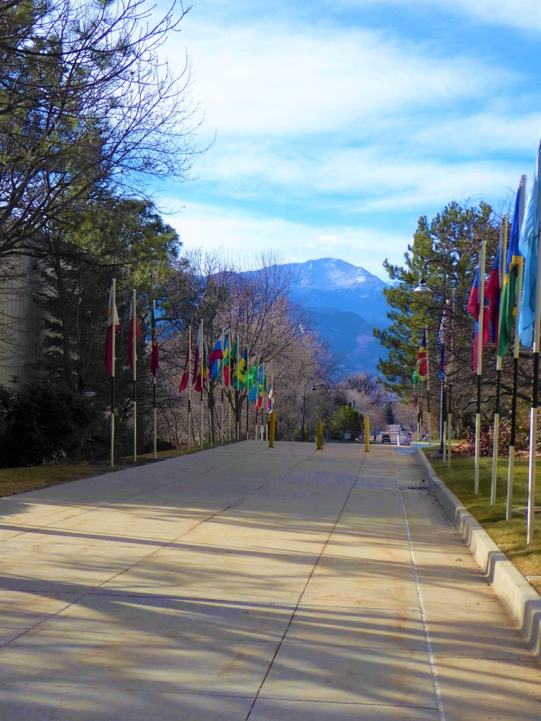 U.S. Olympic Training Center Flags and Pikes Peak