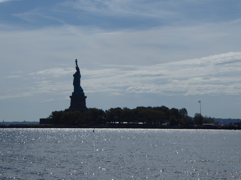 U.S. Flag and Statue of Liberty