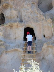 Family Trip to Santa Fe Boy Climbs in Bandelier