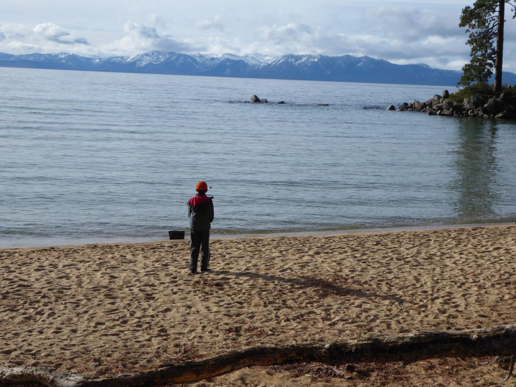 Kid playing at Lake Tahoe