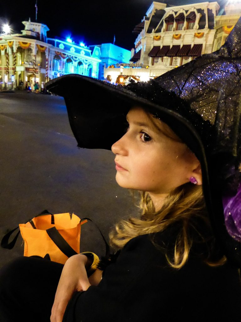 Disney's Not So Scary Halloween Party Girl Watching Parade