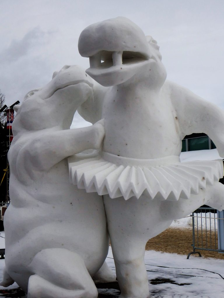 International Snow Sculpture Championship Hippo Ballet Dancers