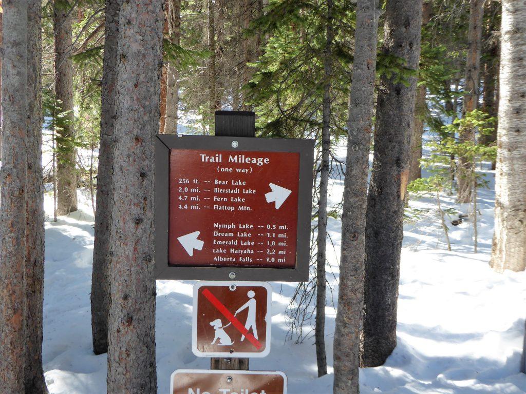 Bear Lake Trail Marker at Rocky Mountain national Park